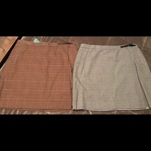 Two L. L. BEAN FAUX WRAP BELTED SKIRTS NWT 18P